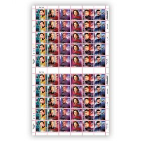 Star Trek Full Sheet 1st Class Stamp x 60 - James T Kirk