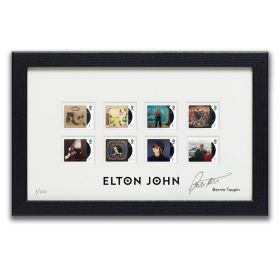 Elton John Framed Stamps signed By Bernie Taupin