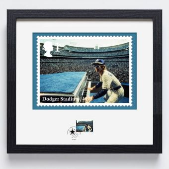Elton John Framed Dodger Stadium Print and Stamps