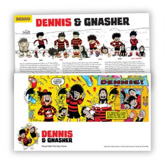 Dennis & Gnasher First Day Cover Stamp Sheet with Tallents House Postmark