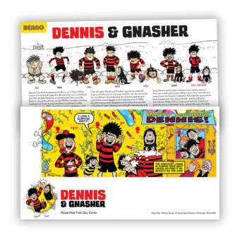 Dennis & Gnasher First Day Cover Stamp Sheet with Dundee Postmark