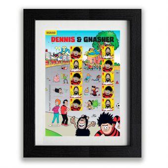 Framed Dennis & Gnasher Collector's Sheet