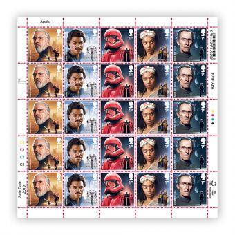 Half sheet of 25 x 1st Class Stamps Count Dooku