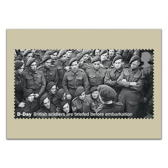 D-Day 75th Anniversary Set of 12 Postcards - British soldiers are briefed before embarkation