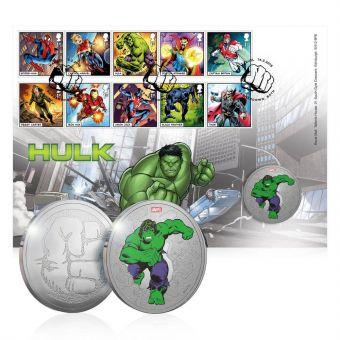 Royal Mail MARVEL Hulk Brilliant Uncirculated Medal Cover