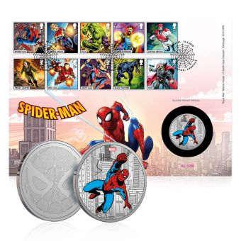 Royal Mail MARVEL Spider-Man Silver Medal Cover