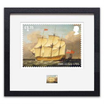 Royal Navy Ships framed HMS Victory print enlargement and stamp