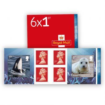 Wild Coasts 6 x 1st Class Stamp Book