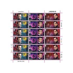 Half Sheet of 18 First Class James Bond Stamps