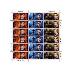 Half Sheet of 18 £1.60 James Bond Stamps