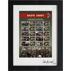 Limited Edition Dad's Army 50th Anniversary Framed Stamp Sheet Signed by Private Pike (Ian Lavender)