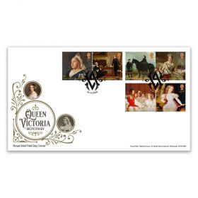 Queen Victoria Bicentenary Stamp Souvenir - First day cover with East Cowes postmark