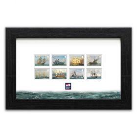 Royal Navy Ships framed set of stamps
