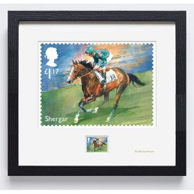 N3122 Racehorse Legends Framed Shergar Stamp Signed by Sir Michael Stoute