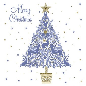 Shiny Christmas Tree Pack of 10 Charity Christmas Cards
