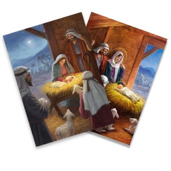 Bethlehem Stable and No Room at the Inn Twin Pack of 10 Charity Christmas Cards