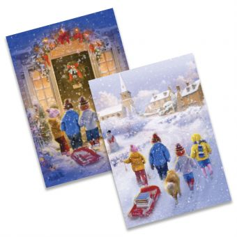 Carol Singing and Children Tobogganing Twin Pack of 10 Charity Christmas Cards