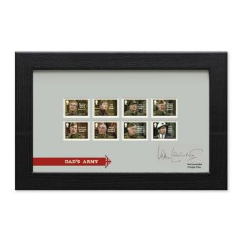 Dad's Army Framed Stamp Set signed by Ian Lavender