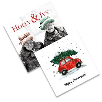 Holly and Ivy and Picking Up The Tree Twin Pack of 10 Charity Christmas Cards