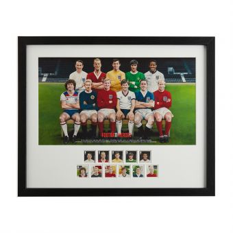 N3043 Royal Mail Framed Football Heroes Stamps And Fine Art Print 1