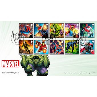 MARVEL First Day Cover with Shield Row Postmark