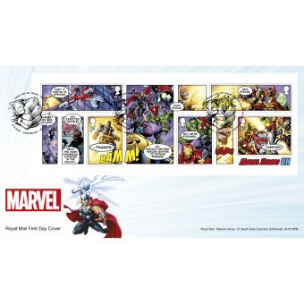 MARVEL First Day Cover Minisheet with Tallents House Postmark