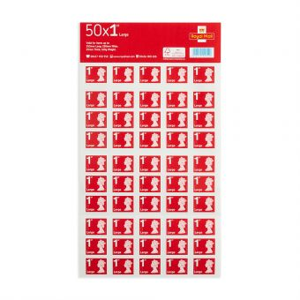 Royal Mail Royal Mail 50 X Large Letter 1st Class Self Adhesive Stamp Sheet