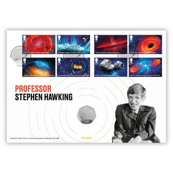 Visions of the Universe Stephen Hawking Brilliant Uncirculated Coin Cover – Limited Edition