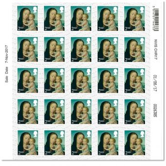 Madonna & Child 2nd Class Half Sheet (25 Stamps)