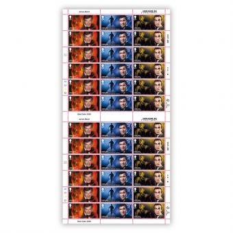 Full Sheet of 36 £1.60 James Bond Stamps