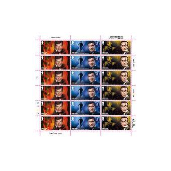 Half Sheet of 18 £1.60 James Bond Stamps