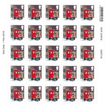 Christmas 2018 Half sheet of 25 x 1st Class Stamps