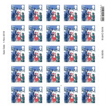 Christmas 2018 Half sheet of 25 x 2nd Class Stamps