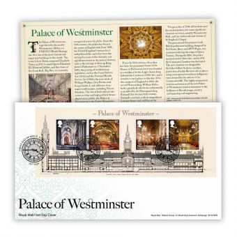 Palace of Westminster First Day Cover Miniature Sheet (London, SW1 Postmark)