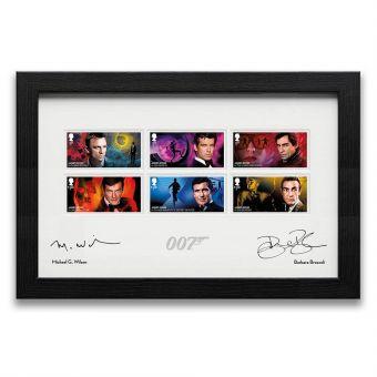 Limited Edition, Framed James Bond Stamps signed by Michael G. Wilson and Barbara Broccoli