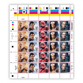 Half sheet of 25 x 1st Class Stamps Count Dooku