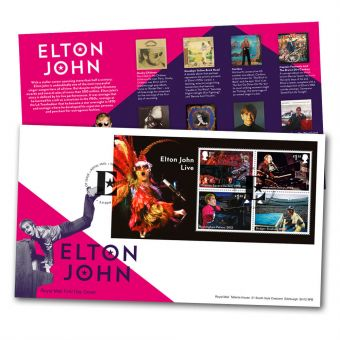 Elton John Miniature Sheet First Day Cover (Tallents House)