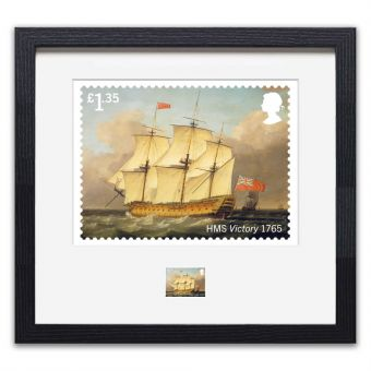 Royal Navy Ships framed HMS Victory print enlargement and stamp