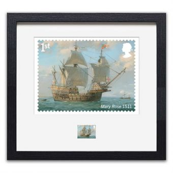 Royal Navy Ships framed Mary Rose print enlargement and stamp