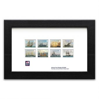 Royal Navy Ships framed set of stamps signed by the First Sea Lord
