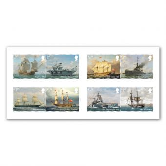 Royal Navy Ships set of eight Special Stamps, full set