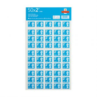 Royal Mail Royal Mail 50 X Large Letter 2nd Class Self Adhesive Stamp Sheet