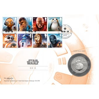 Royal Mail STAR WARS Silver Proof Medal Cover BB-8 1