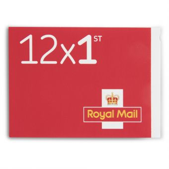 Royal Mail 12 x Firstclass Stampbook Change of Font and Colour