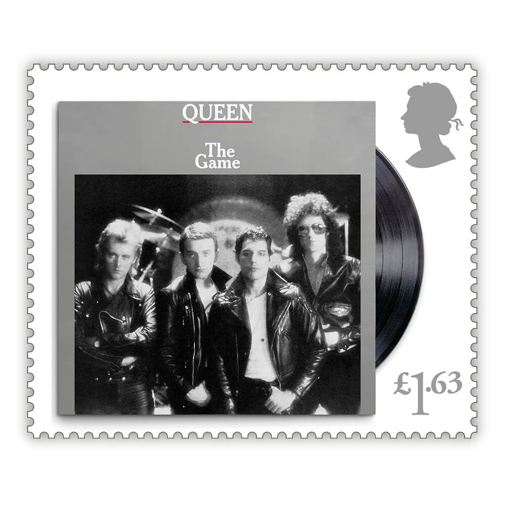 Sello con la portada del disco de Queen 'The Game'.